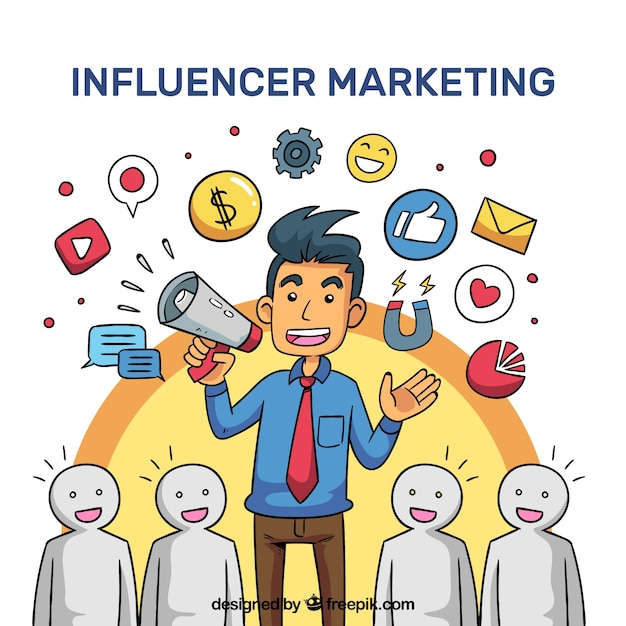 Influencer marketing vector met luisterende menigte Gratis Vector