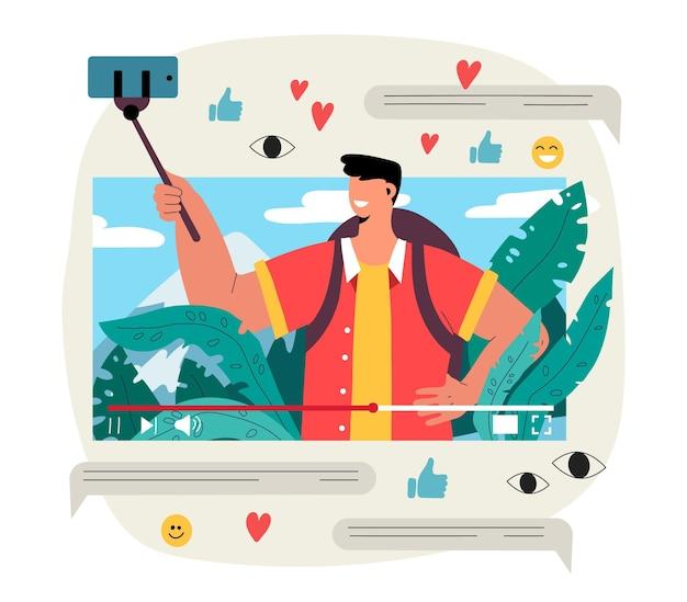 Influencer video blogging illustratie Gratis Vector