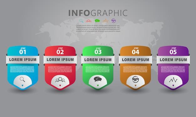 Info grafisch lay-outontwerp met stapinformatie Premium Vector