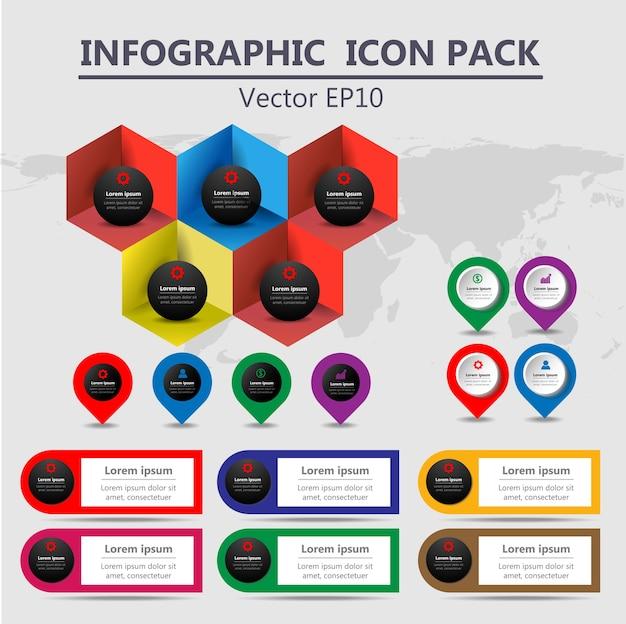 Info grafische tijdlijnen pictogrammen pack set Premium Vector