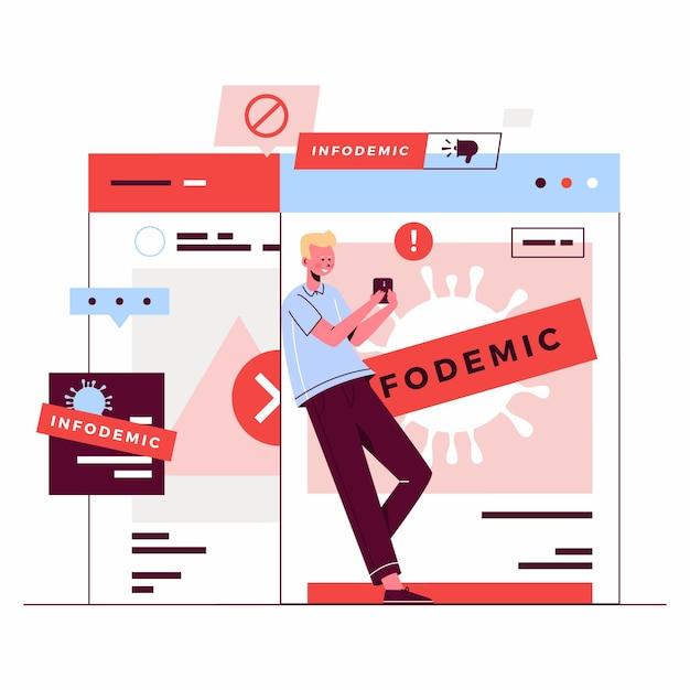 Infodemic nieuws illustratie Premium Vector