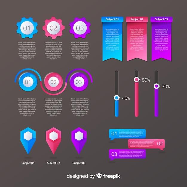 Infografic element verzameling Gratis Vector