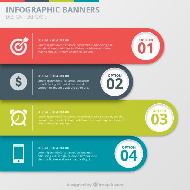 Infographic banners collection Gratis Vector