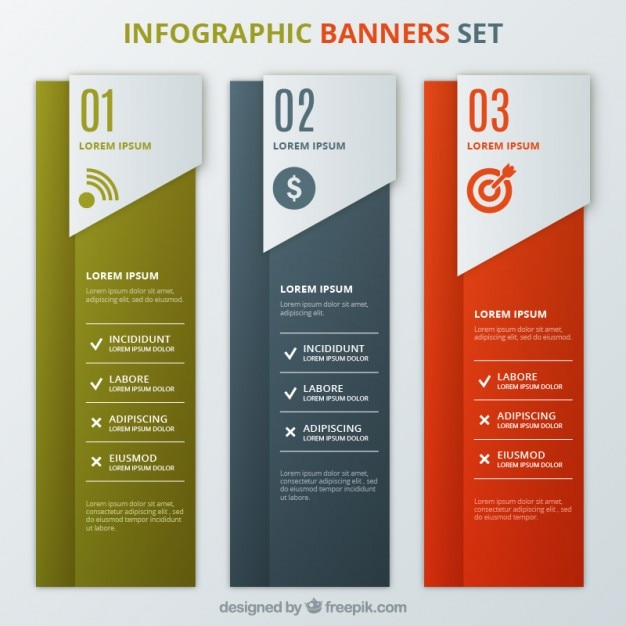 Infographic banners template set Gratis Vector