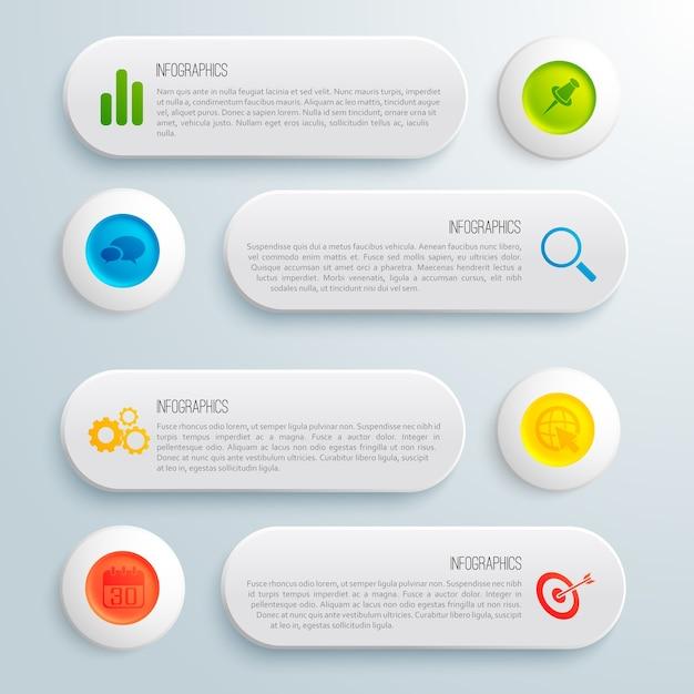 Infographic bedrijfs conceptueel malplaatje met de grijze tekst van banners kleurrijke cirkels en pictogrammenillustratie Gratis Vector