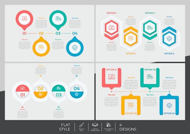Infographic-bundel met moderne stijl en kleurrijk concept voor presentatiedoel, zaken en marketing. Premium Vector
