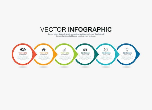 Infographic cirkel elementen tijdlijn proces grafieksjabloon Premium Vector