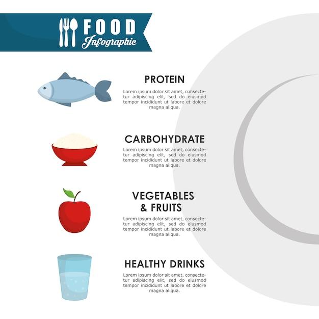 Infographic concept met gezond voedsel pictogram ontwerp Premium Vector
