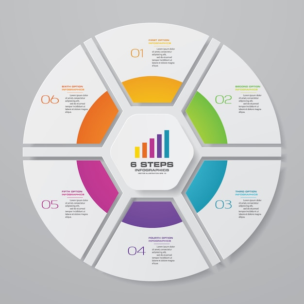 Infographic cyclusgrafiek voor gegevenspresentatie Premium Vector