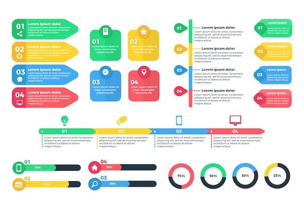 Infographic element collectie sjabloonontwerp Gratis Vector