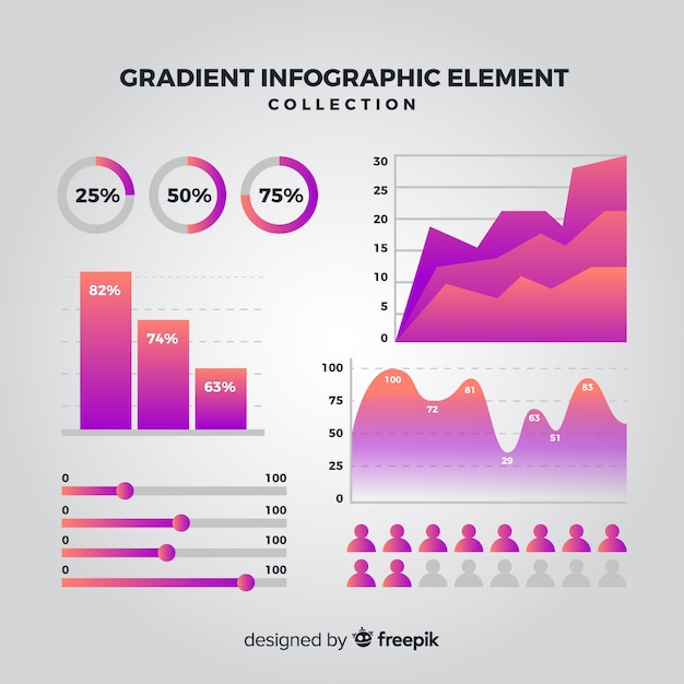 Infographic element collectie Gratis Vector