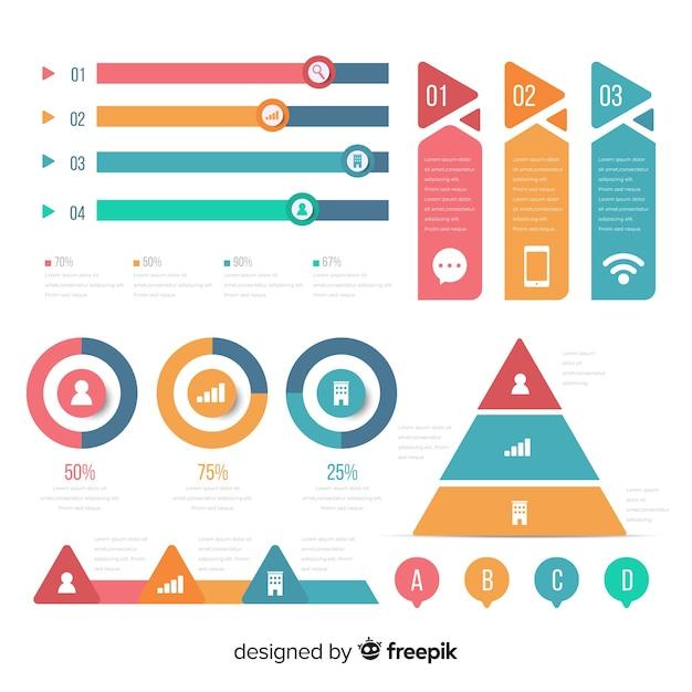 Infographic element collectie Gratis Vector