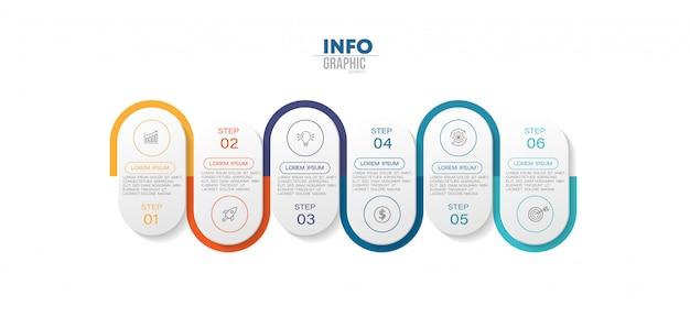 Infographic element met 6 opties of stappen. kan worden gebruikt voor proces, presentatie, diagram, workflowindeling, infografiek, webontwerp. Premium Vector