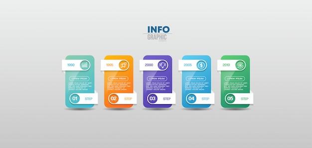 Infographic element met pictogrammen en 5 opties of stappen. kan worden gebruikt voor proces, presentatie, diagram, workflowindeling, infografiek, webontwerp. Premium Vector