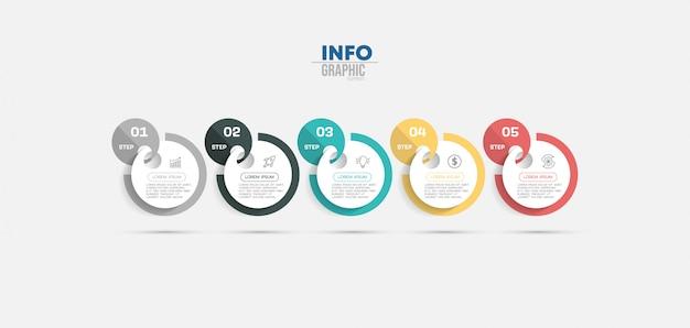 Infographic element met pictogrammen en 5 opties of stappen. Premium Vector
