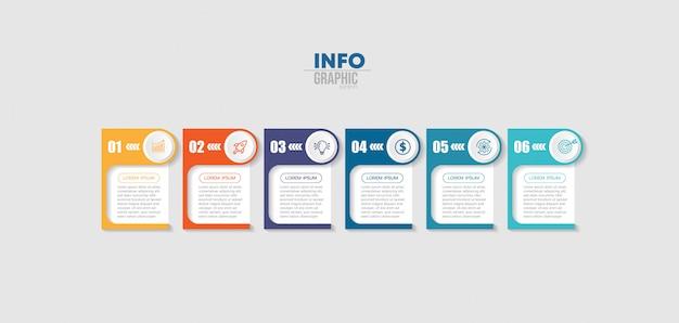 Infographic element met pictogrammen en 6 opties of stappen. Premium Vector