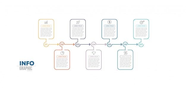 Infographic element met pictogrammen en 7 opties of stappen. Premium Vector