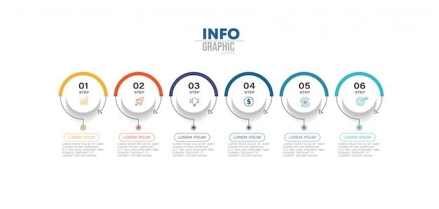 Infographic element met pictogrammen en opties of stappen. Premium Vector