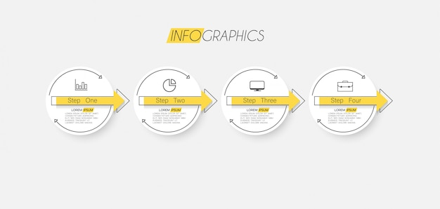 Infographic element met pictogrammen en opties of stappen. Premium Vector