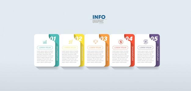 Infographic element stappen Premium Vector