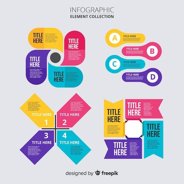 Infographic elementen collectie plat ontwerp Gratis Vector