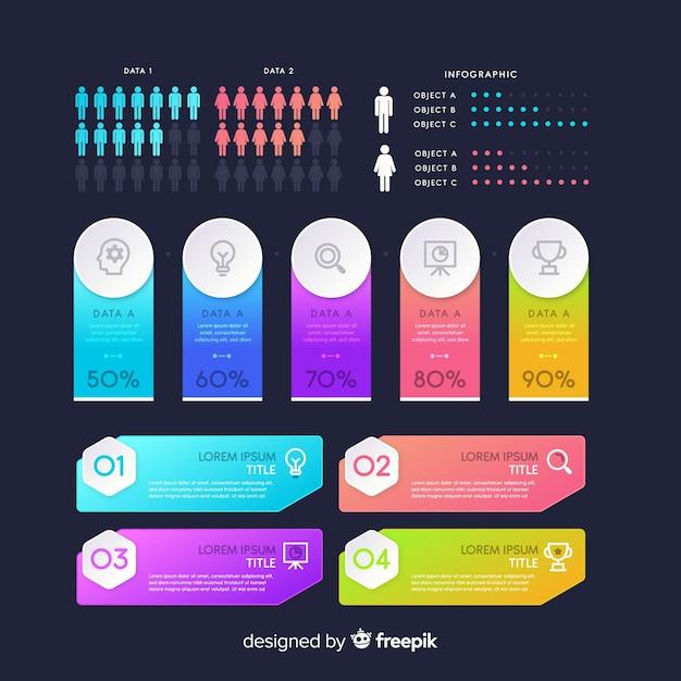 Infographic elementen op donkere achtergrond Gratis Vector
