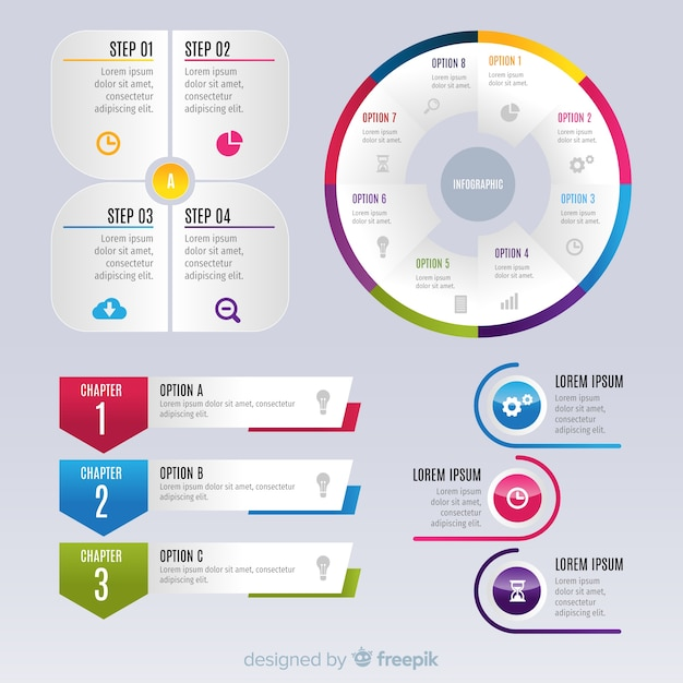 Infographic-elementen van gradiëntelementen Gratis Vector