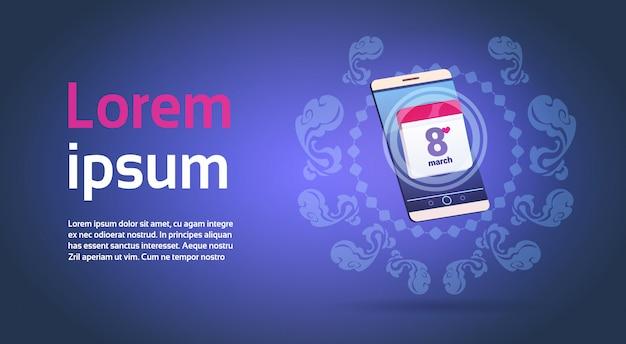 Infographic elementen voor 8 maart met slimme telefoon happy international women day sjabloon Premium Vector