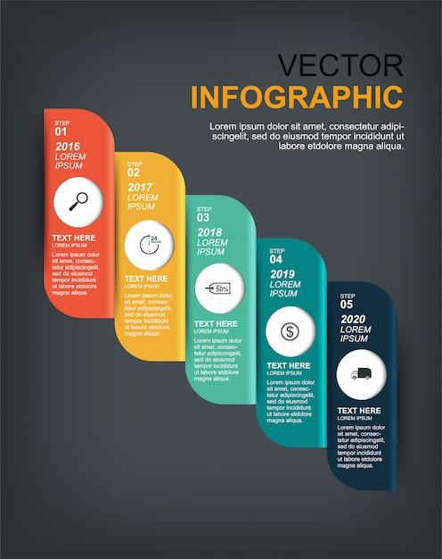 Infographic elementenontwerp met 5 opties Premium Vector