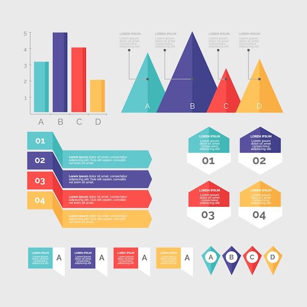 Infographic elementenverzameling in plat ontwerp Gratis Vector