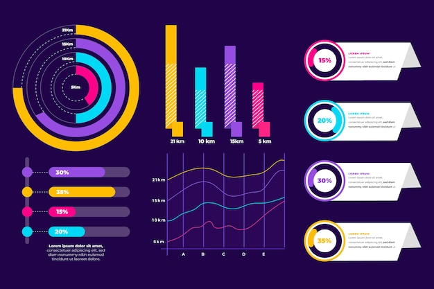 Infographic elementenverzameling Gratis Vector