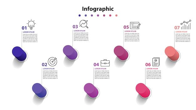 Infographic elementstap, infochartplanning Premium Vector