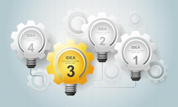 Infographic gloeilamp idee met versnelling communiceren met elkaar. Premium Vector