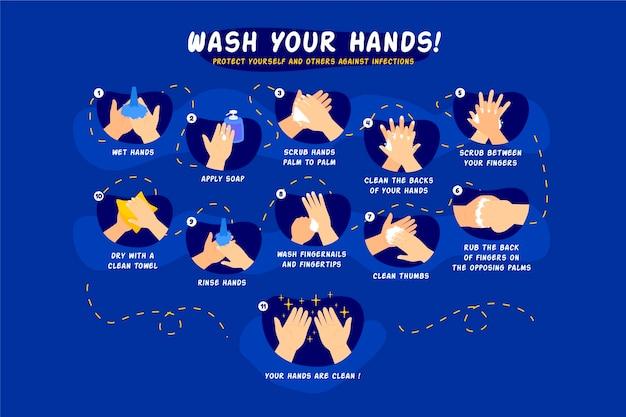 Infographic handen wassen Gratis Vector