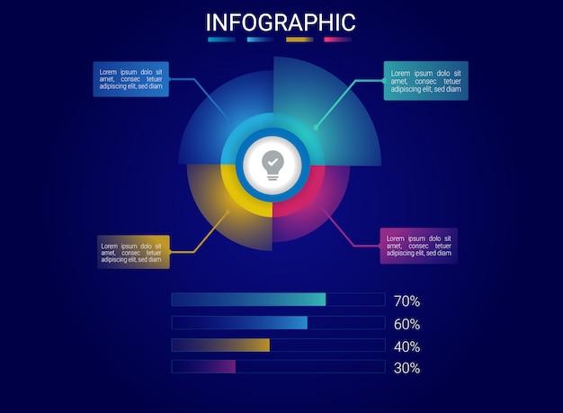 Infographic hologramontwerp met gradiëntkleur Premium Vector