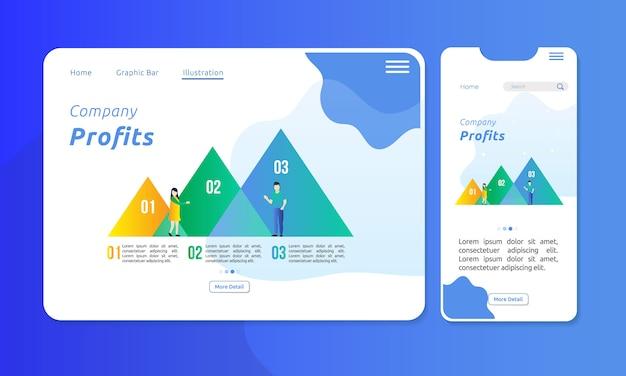Infographic in driehoekgrafiekbalk voor bedrijfspresentatie Premium Vector