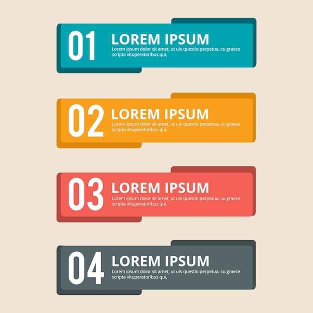 Infographic kleurrijke banner instellen Premium Vector
