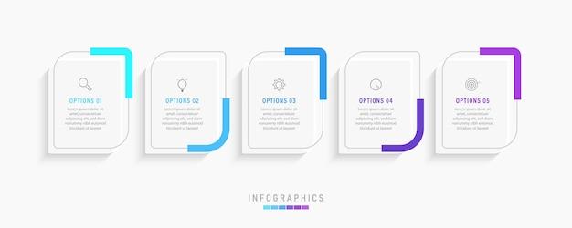 Infographic label ontwerpsjabloon met pictogrammen en 5 opties of stappen. Premium Vector