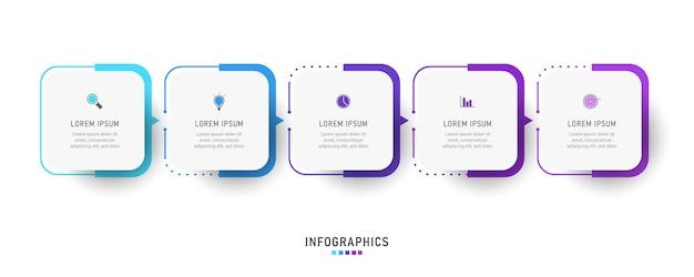 Infographic label ontwerpsjabloon met pictogrammen en 5 opties of stappen Premium Vector