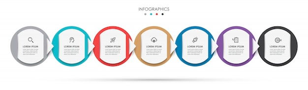 Infographic label ontwerpsjabloon met pictogrammen en 7 opties of stappen. Premium Vector