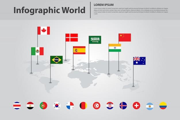 Infographic land wereldkaart, internationale wereld vlaggen Premium Vector