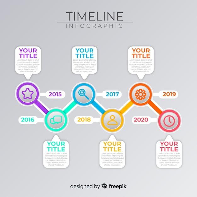 Infographic marketing proces tijdlijn sjabloon Gratis Vector