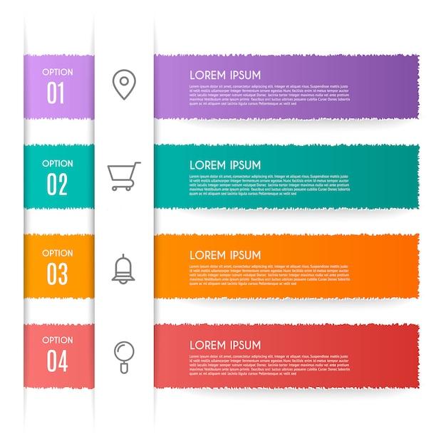 Infographic met 4 opties, stappen of processen Premium Vector
