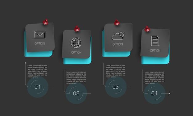 Infographic met 4 opties Premium Vector