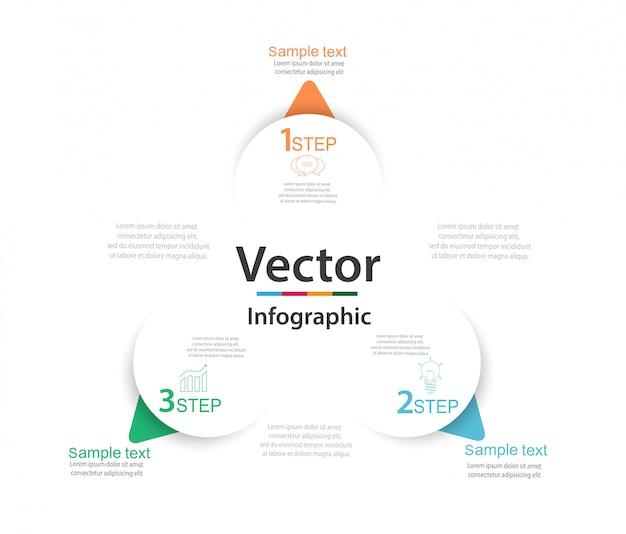 Infographic met drie ronde papieren witte elementen met pijlen of wijzers Premium Vector