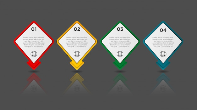 Infographic met gradiënt en papier schaduweffect 4 opties. infographics bedrijfsconcept. Premium Vector