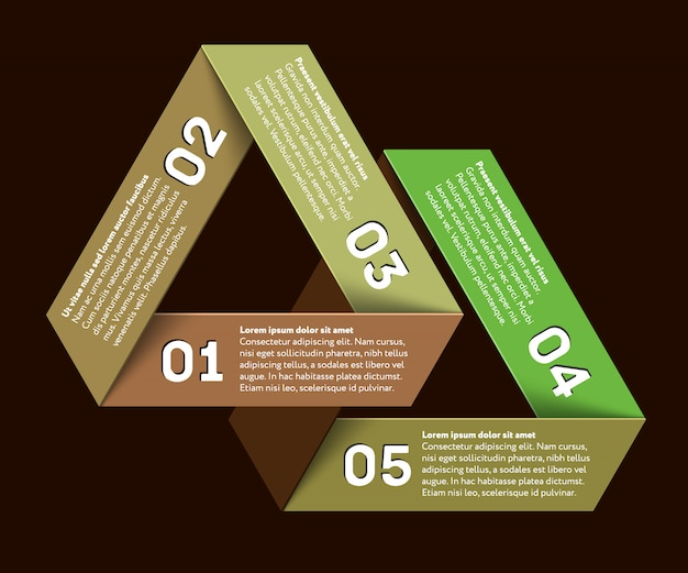 Infographic met onmogelijke driehoek Premium Vector