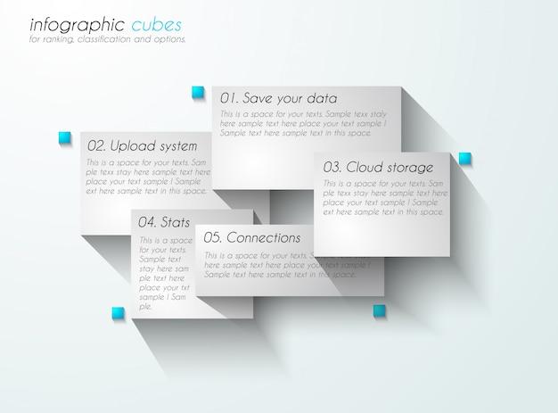 Infographic met papieren labels. Premium Vector
