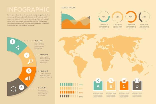 Infographic met retro kleurenontwerp Gratis Vector