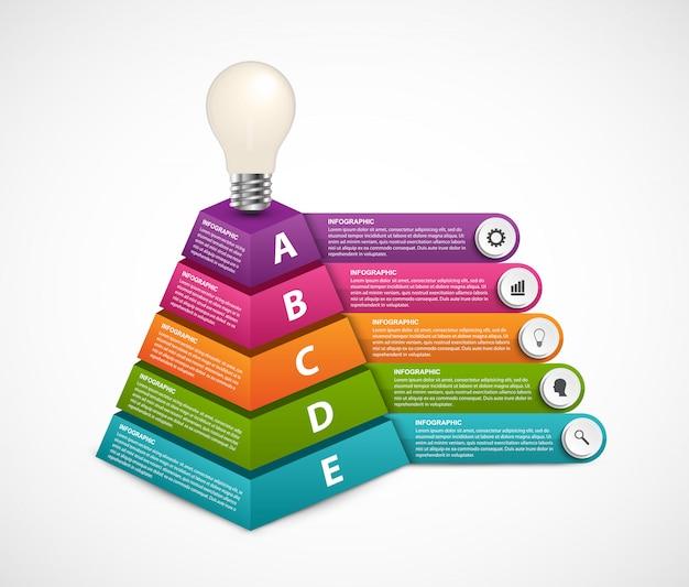 Infographic met vijf opties en 3d-piramide bovenaan met een gloeilamp. Premium Vector